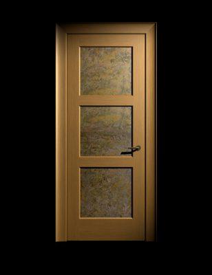 oak door with copper panels